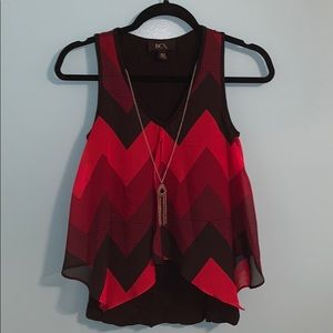 BCX BARELY WORN Red and black blouse with necklace